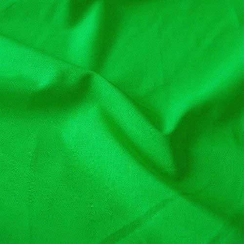 TOLKO Baumwollstoff aus 100% Oeko-Tex Baumwolle   25 leuchtende Farben Uni   150cm breit Baumwoll-Nesselstoff als Kleiderstoff Dekostoff Vorhang-Stoff Bezugsstoff Webstoff Meterware 50cm (Gras-Grün)