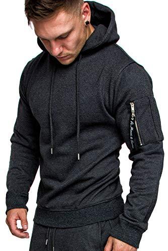 Amaci&Sons Herren Cargo-Style Pullover Sweatshirt Hoodie Sweater Camouflage 4003 Anthrazit M