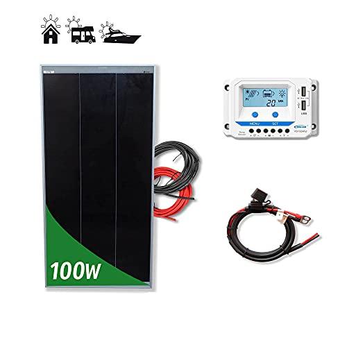 Kit 100W PRO 12V panel solar placa monocristalina Tecnología Shingled cells de alta eficiencia para caravanas autocaravanas