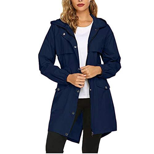SMILEQ Abrigo de Chaqueta de Lluvia de Color Puro para Mujer Impermeable Impermeable con Capucha al Aire Libre Abrigo Suelto a Prueba de Viento (M, Armada)