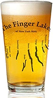 Transparent glass beer mug - Finger-Lakes 2 Logo.Png Pint Glass,16 oz. Drinking Glass– Elegant design for the home and kitchen – lead free and BPA