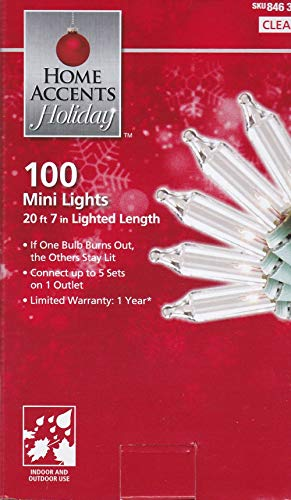 Home Accents Holiday 100 Count - Mini Lights for Tree or Home - Connect up to 5 Sets to 1 outlet!