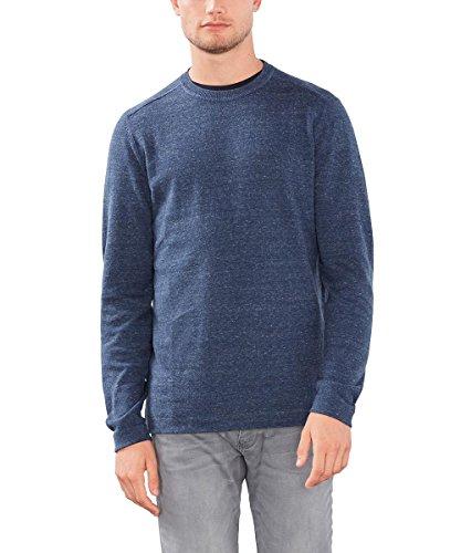 ESPRIT Herren Meliert - Regular Fit Pullover, Blau (Dark Blue 405), Large
