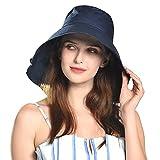 Comhats Sombrero de playa plegable con cordón para el cuello para mujer, UPF 50 + Sun Shade L-58-60 cm, color negro y azul