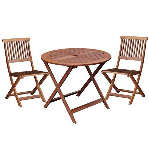 Tousmesmeubles Ensemble Table Ronde & Chaises en Bois - MOOFUSHI - L 90 x l 90 x H 76 - Neuf