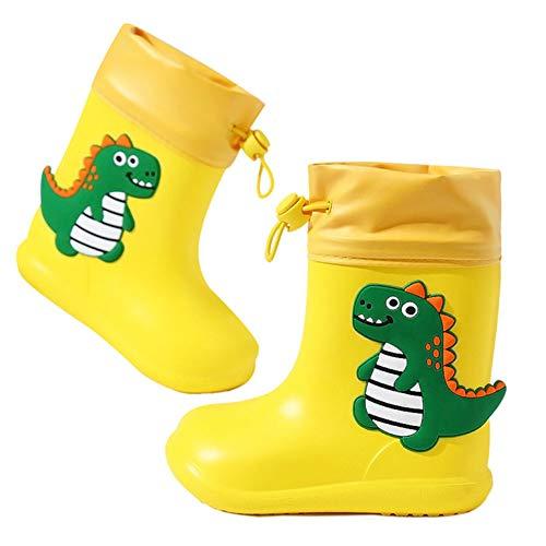 Botas de Agua Unisex Niños Niñas Luces Wellington Botas de Lluvia Impermeable y Antideslizante Rain Boots Amarillo EU 24/25