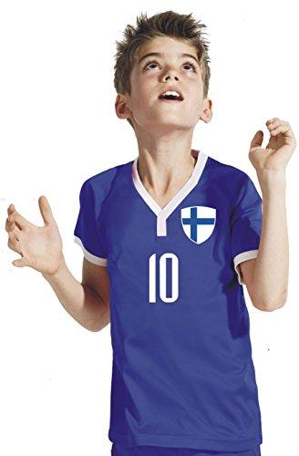 Aprom-Sports Finnland Kinder Trikot - Hose Stutzen inkl. Druck Wunschname + Nr. BBB WM 2018 (152)