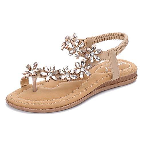 Minetom Damen Sandals Frauen Sandalen Sommer Bohemian Strass Blumen Flach Sandaletten PU Leder Zehentrenner Boho T-Strap Clip Toe Flip Flops A Aprikose 37 EU