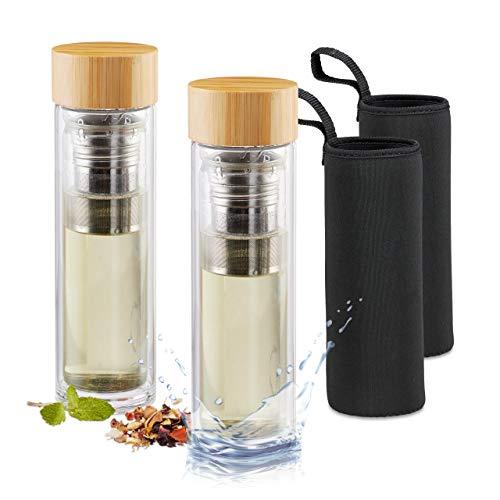 Relaxdays 2er Set Teebereiter Bambus 500 ml, Teeflasche für unterwegs, doppelwandiger Teezubereiter, bruchsicheres Borosilikatglas