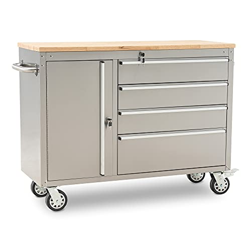 """Mcombo 4-Drawer Lockable Rolling Workbench with Wheels, Stainless Steel Tool Chest for Storage, 48"""" x 19"""" x 37.4"""", Grey, 6220-Cabinet-HG39"""