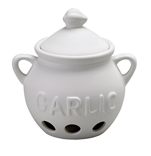 HIC Harold Import Co. Garlic Clove Keeper White Vented Ceramic Storage Container With Lid, 5.25' x 5.5'/16 oz