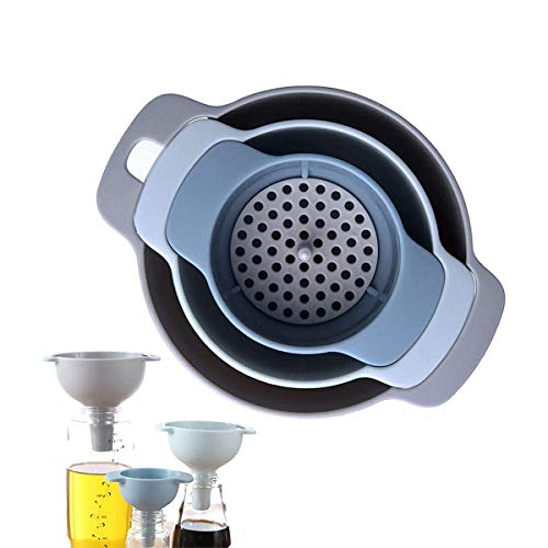 XINRANFF Trichter Set, Küche Kunststoff Trichtermit Griff, Vier-in-Eins-Multifunktion, Filter Zum Übertragen Von Flüssigen, Pulverförmigen Und Trockenen Zutaten.
