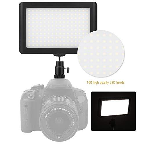 950 lumen fotografie camcorder LED-lichtpaneel, 6000K 160 LED on-camera videolichten, 120 ° hoek draagbare camera fotolichtpaneel dimbaar voor Canon DSLR-camera DV-camcorder