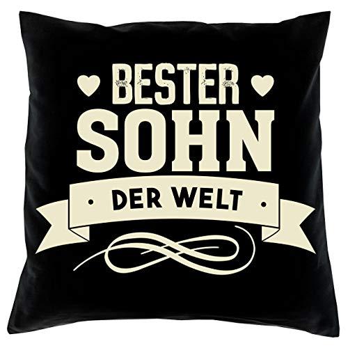 Baumwoll-Kissen mit Spruch ''Bester Sohn der Welt'' - Deko-Kissen mit Füllung - Zierkissen Polster Geschenk - schwarz 40 x 40 cm