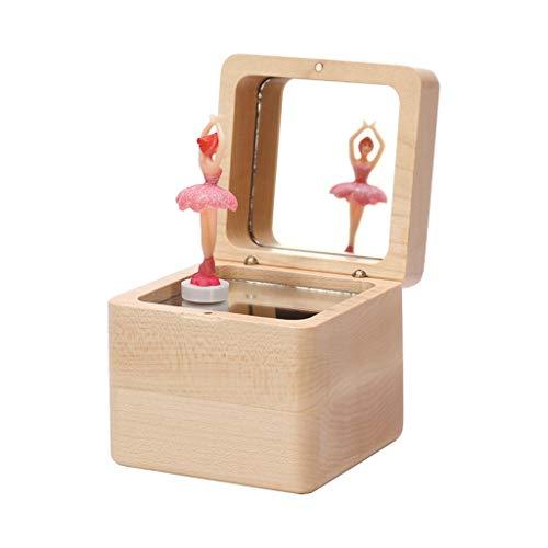 Kreative Spieluhr Holz Rotating Spieluhr Ballett-Mädchen-Spieluhr mit Spiegel-Verfassungs-Spiegel-Musikbox, DIY Miniatur-Puppen Kit spieluhr Geschenk (Größe : Plays Ca-Non (Requires Lettering))