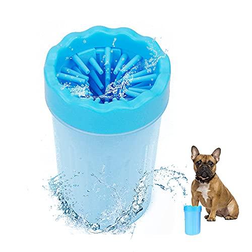 Sooair Limpiador de Patas, Multifunción Portátil Perro Taza de Limpieza, Limpiador de Patas de Perro para Mascotas Gatos Perros Suministros de Limpieza(Azul, L)