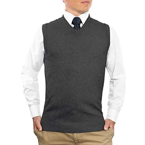 CC Cotton Blend Slim Fit V Neck Sweater Vest for Men | Lightweight Breathable Vests for Men | Wash Friendly V Neck Mens Vests… Charcoal Grey