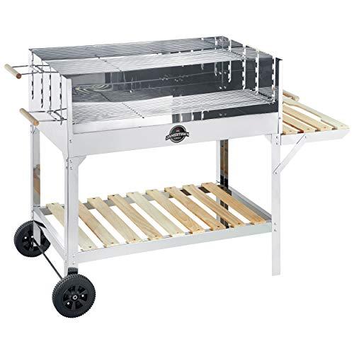 Jamestown Ben XL Holzkohle-Grillwagen mit Windschutz und Ascheschublade inkl. zweigeteiltem, höhenverstellbarem Grillrost | Hochwertiger Grill für das Barbecue in großer Runde