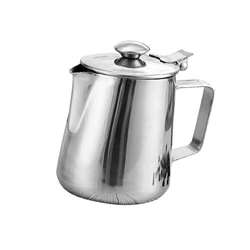 Baoblaze Milchkännchen, milchkanne Edelstahl Mit Deckel, perfekt für Espressomaschinen, Milchaufschäumer, Latte Art - Silber, 350ml