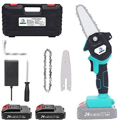 BABEJIA 24VF Mini Motosierra Bateria, Motosierra Eléctrica Portátil de 4 pulgadas para Podar Árboles / Corte de Madera, con Adaptador de Corriente Certificado (2 Baterías y Caja) - Azul Cian