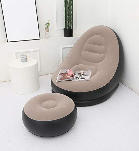 Aufblasbares Sofa faules Sofa aufblasbare Klappliege im Freien Schlafsofa mit Pedal bequem beflocken Single Sofa Stuhl Coffeesofaoneset