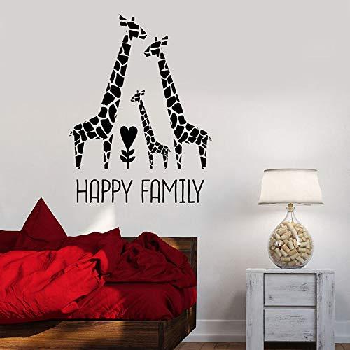 HFDHFH Calcomanía de Pared de Familia Feliz Linda Jirafa Amor guardería niños Dormitorio bebé habitación decoración del hogar Vinilo Pared Pegatina Mural