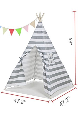 Best Teepee Tent for Kids with Window & Floor, Including Style Matching Accessories & Carrying Case — Great Kids Teepee for Indoor Playroom & Bedroom — GreyThin Stripe_1pc