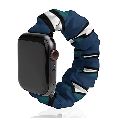 Cinturino da uomo e donna, compatibile con Apple Watch 42 mm/44 mm, morbido elastico elastico di ricambio per iWatch Series SE 6/5/4/3/2/1, Techno Waves