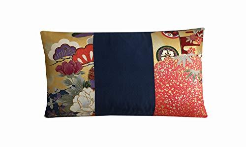 Cojín japonés de seda sin marca, color azul y dorado con diseño floral de petróleo de 12 x 20, decoración asiática, regalos orientales