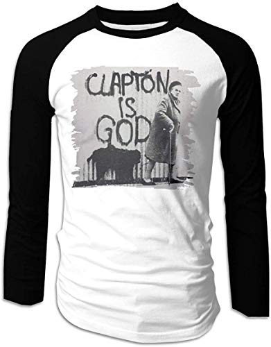 Men's Clapton is God Classic Long Sleeve Baseball T-Shirts Top,Black,X-Large