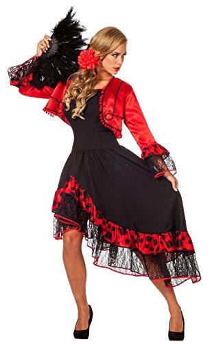 narrenkiste W4269-40 - Vestido para mujer (talla 40), color negro y rojo