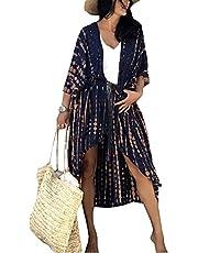 L-Peach Dames Boho Kimono Lang Vest Ruim Loungewear Oversized Kaftan Strandjurk Cover Ups Gewaad