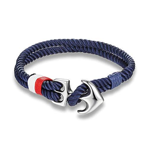 EXINOX Pulsera Ancla Nautica | Hombre Mujer | Acero Inoxidable Brillo | Estilo Mar Marinero (Azul)