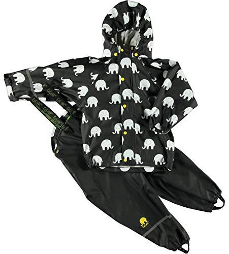 Celavi Celavi Baby Unisex Regen Anzug mit Elefanten Aufdruck, Jacke und Latzhose mit Hosenträgern, Alter 18-24 Monate, Größe: 90, Farbe: Schwarz und Gelb, 1372