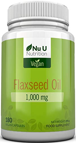 Olio di Semi di Lino 1.000 mg Vegan Pressato a Freddo | 180 Capsule Softgel - Fornitura Per 3 Mesi | Ricco di Omega 3, 6 e 9 | Prodotto nel Regno Unito da Nu U Nutrition