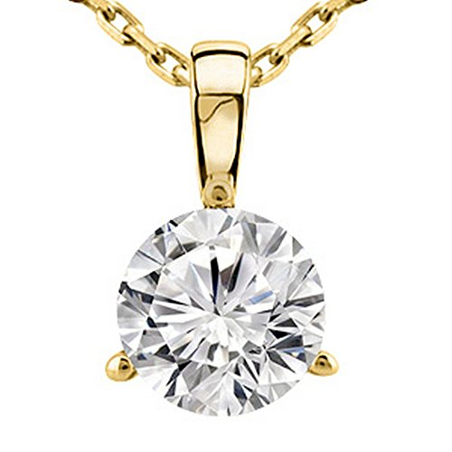 0.5 Carat 14K Yellow Gold Round Diamond 3 Prong Solitaire Pendant Necklace J Color I2 Clarity