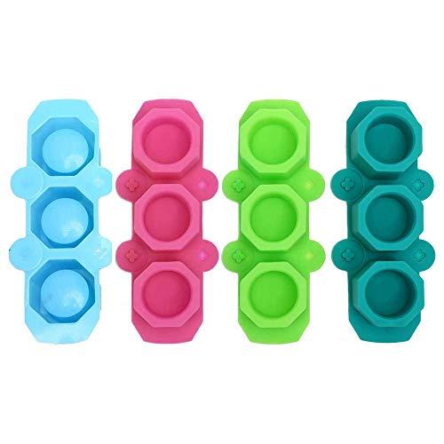ACAMPTAR Paquete de 4 Moldes de Silicona para Macetas de OctáGono, Moldes para Macetas de Plantas Suculentas, Moldes de Yeso de Cemento para HormigóN