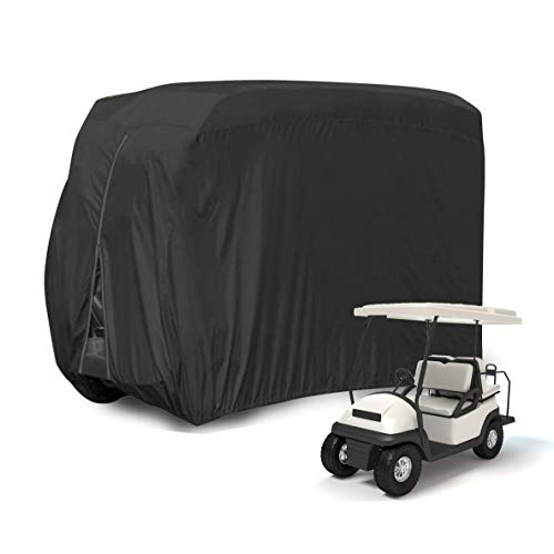 Kayme 4 Passenger Golf Cart Cover, Heavy Duty Waterproof Outdoor Cover for Ez Go Club Car Yamaha Golf Carts, Universal Fit( 112L x 48W x 66H Inch)/Black