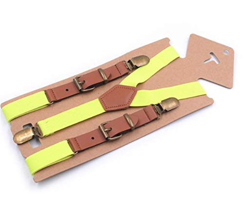 Homeilteds Suspensiones Elásticas Solid Baby Boy Suspenders For Children Retro Braces Ajustable Y-Forma Atrás Suspenders Adjustable (Color : Fluorescent Yellow)