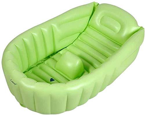 Bañera Inflable para bebés Mini Piscina de Aire portátil Lavabo de Ducha Plegable Gruesa para niños con cojín Suave Asiento Central (0-3 años) (Color: púrpura)-Verde