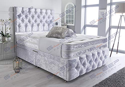 Sleep Factory's Ice White Crushed Velvet Chesterfield 2 Drawer Divan Bed Set, Mattress & Headboard (4.6FT (Double))