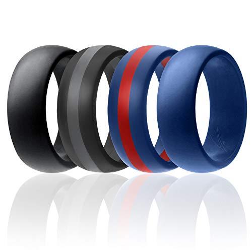 ROQ Anillo de boda de silicona para hombre, paquete de 7, paquete de 4 y individuales, bandas de goma de silicona – estilo clásico sólido y rayas, aspecto metálico y colores mate 7.5 - 8 (18.2mm) azul