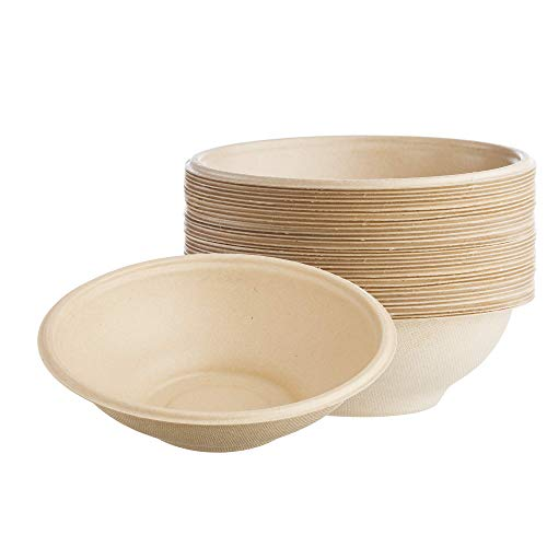 HARVEST PACK 22-oz Round Disposable Paper Bowls with PLA Coating, Made from Eco-friendly Plant Fibers [100 COUNT]