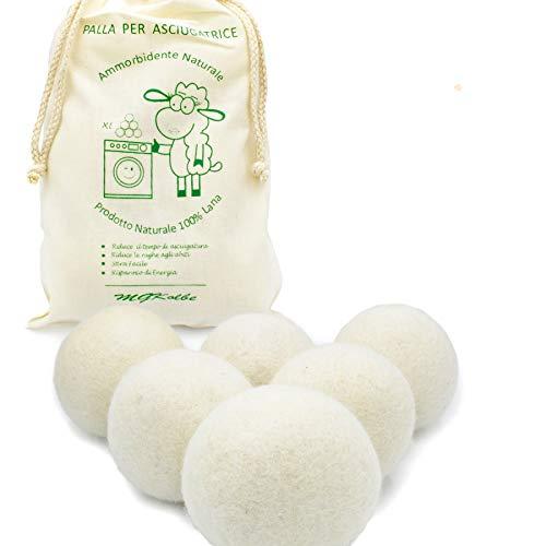 MGKolbe® torkskål för torktumlare – 6 XXL extra stora filtbollar av fårull, naturlig sköljmedel. Idealisk för dunjackor. Torkbollar för dun (vit kula)