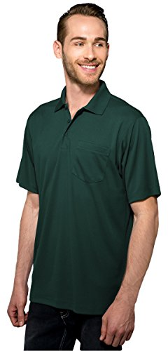 Tri-Mountain Men's 5 oz Moisture Wicking Polyester Shirt w/Pocket Royal Large