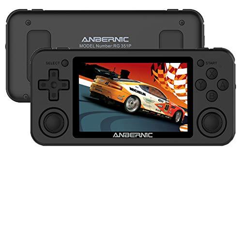 Anbernic RG351P Console di Giochi Portatile, 64GB Console di Giochi Retro 3,5 IPS Opendingux System RK3326 Supporta PSP NDS DC, 1.5GHz Console per Videogiochi Retrò con 2500 Classic Giochi(Nero)