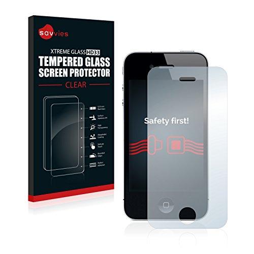 Savvies Panzerglas kompatibel mit iPhone 4 / 4S - Echt-Glas, 9H Härte, Anti-Fingerprint