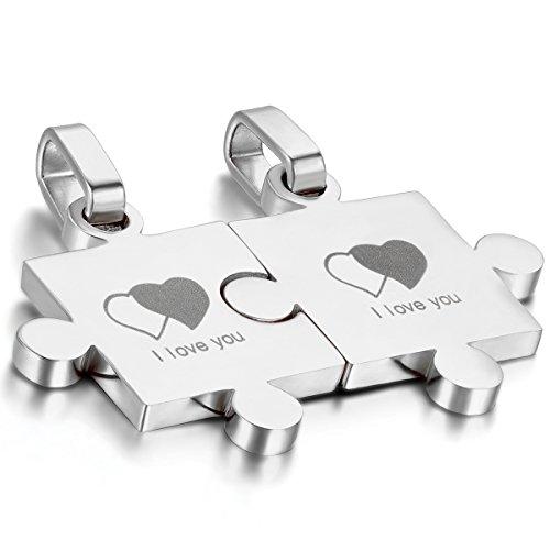 OIDEA 1 Paar(2PCS) Freundschaftsketten mit Anhänger, Edelstahl I Love You Gravur Doppel Herz Puzzle Partner-Anhänger mit 45cm und 55cm Halskette Halsband, Silber