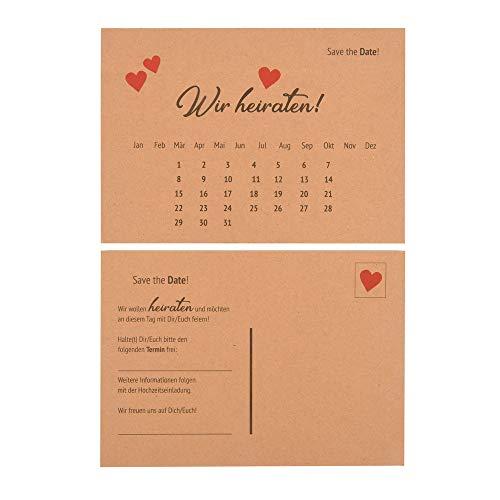 ewtshop Hochzeitseinladungskarten Save The Date, im Format 10,5 x 14,8 cm, Hochzeitskarten aus hochwertigem Kraftpapier, Vintage Postkarten