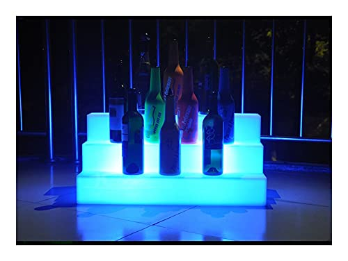 Vidrio de vidrio de vidrio de pie libre de colorido tres capas LED luminoso estante de vino, cambiando de color Barra impermeable KTV Champagne Tres Paso Bar Estantes de Almacenamiento Clásico Ilumina